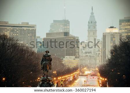 George Washington statue oand street in Philadelphia - stock photo