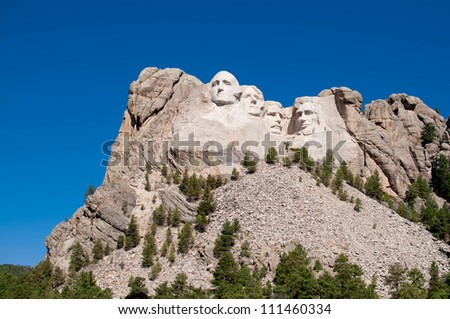 George Washington, Thomas Jefferson, Theodore Roosevelt, and Abraham Lincoln at Mt. Rushmore National Memorial - stock photo