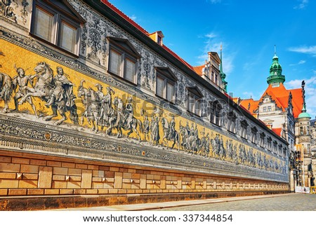 Georgentor and the Procession of Princes. Georgentor, or Georgenbau, was the original city exit to the Elbe Bridge and the first of the city's many Renaissance buildings. Saxony, Germany. - stock photo