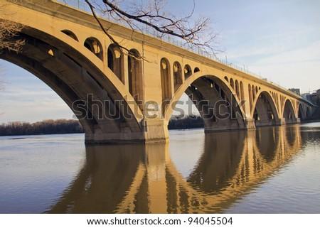 Georgetown Bridge, Washington DC over the Potomac River - stock photo