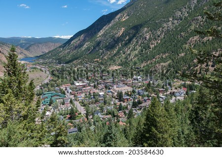Georgetown Colorado from a view point on the Guanella Pass Road. - stock photo