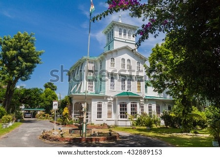 GEORGETOWN, GUYANA - AUGUST 10, 2015: Prime minister official residence in Georgetown, capital of Guyana.