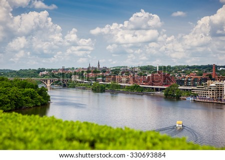 Georgetown in Washington DC from across the Potomac River - stock photo
