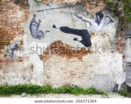 """Georgetown, Penang, Malaysia - April 24, 2014: """"The Real Bruce Lee Would Never Do This"""" street art mural by ASA (Artists for Stray Animals), part of the 101 Lost Kittens project in Penang, Malaysia. - stock photo"""