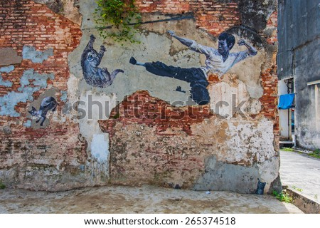 """Georgetown, Penang, Malaysia - February 19, 2015: """"The Real Bruce Lee Would Never Do This"""" street art on wall by Artists for Stray Animals in George Town, Penang, Malaysia. - stock photo"""