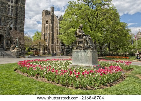 Georgetown University ancient building in Washington DC  - stock photo