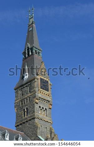 Georgetown University main building clock tower detail - Washington DC - United States - stock photo