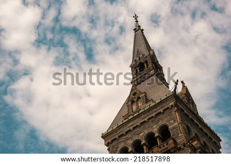 Georgetown University with blue sky - stock photo