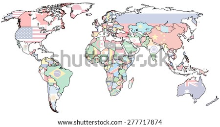 georgia flag on old vintage world map with national borders - stock photo