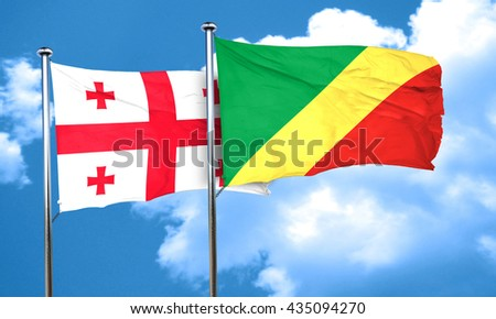 Georgia flag with congo flag, 3D rendering