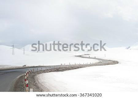 Georgia military road in the winter. Georgian Republic - stock photo