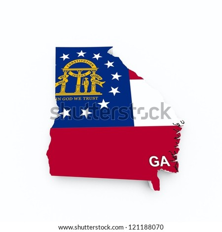 georgia state flag on 3d map - stock photo
