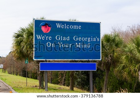 Georgia Welcome sign - stock photo