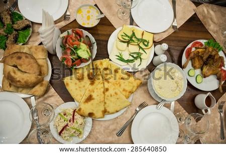 Georgian bread and khachapuri traditional food in Georgia - stock photo