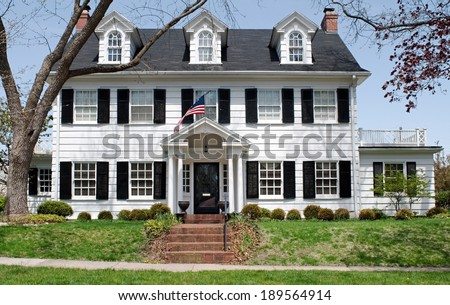 Georgian Colonial Mansion colonial house stock images, royalty-free images & vectors