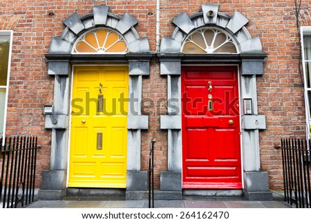 Georgian Doors in Ireland - stock photo