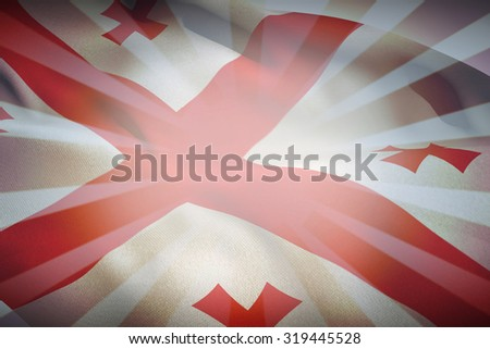 Georgian flag against linear design - stock photo