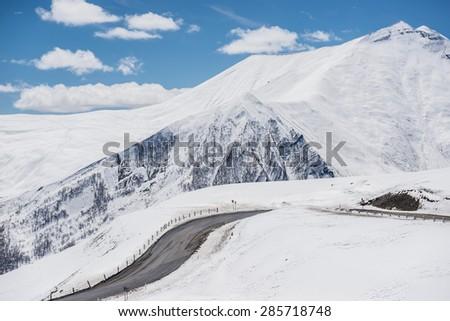 Georgian Military Highway in northern part of Georgia - stock photo