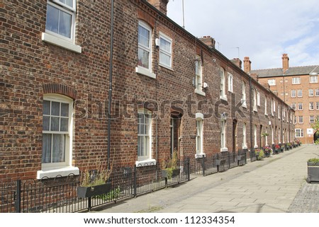 Georgian terraced street, Manchester, UK - stock photo