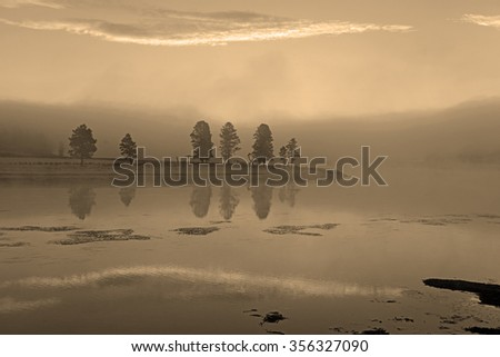 Geothermal activity at Yellowstone National Park, a natural wonder in Wyoming, USA - stock photo