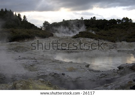 Geothermal activity in New Zealand's Hell's Gate - stock photo
