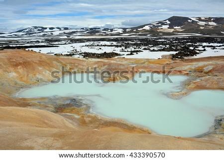 geothermal area at lake myvatn, iceland - stock photo