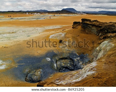 Geothermal area in Namafjall, Iceland - stock photo