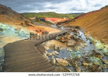 Geothermal area with hot springs on Iceland, summer time