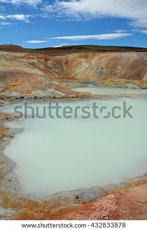 geothermal areas near lake myvatn, iceland - stock photo