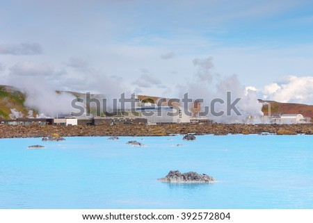 Geothermal field of Blue Lagoon, near Reykjavik Geothermal Power Plant, Iceland - stock photo