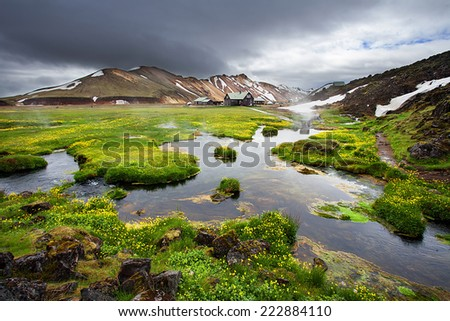 Geothermal hot springs next to lava field at Landmannalaugar, Iceland - stock photo