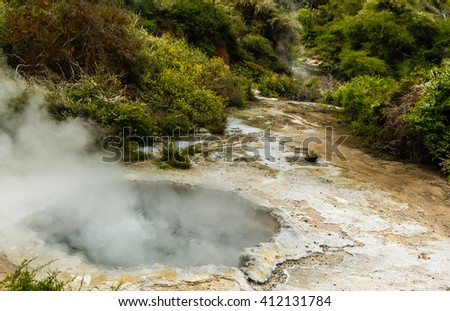 Geothermal Park in Rotorua, New Zealand