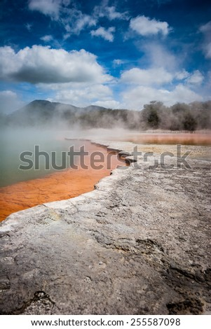 Geothermal pools of Waiotapu in New Zealand - stock photo
