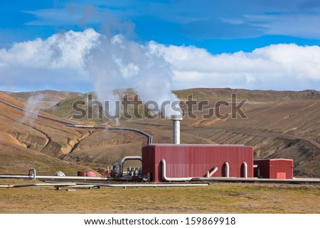Geothermal Power Station in Iceland at summer sunny day. Horizontal shot