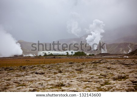 Geothermal Power Station in Iceland. Lava and moss as a foreground - stock photo