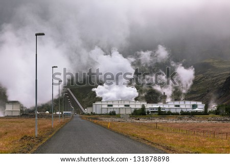 Geothermal Power Station in Iceland produces Ecology Clean energy - stock photo
