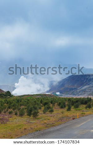 Geothermal power station in volcanic area in Iceland. - stock photo