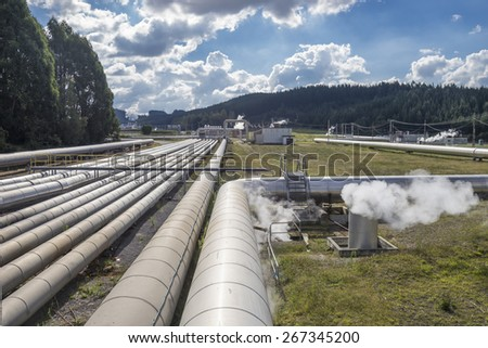 Geothermal power Station,  near Taupo New Zealand - stock photo