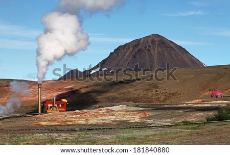 Geothermal Power Station - Turquoise Lake, Iceland - stock photo