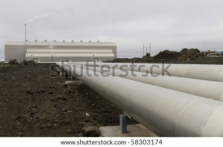 Geothermal powerstation built on a lavafield in Iceland - stock photo