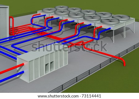 Geothermal system - stock photo