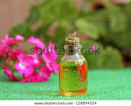 Geranium oil in glass bottle, close-up - stock photo