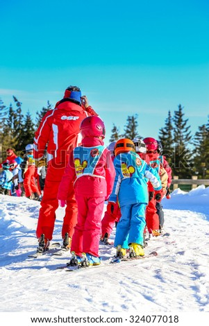 GERARDMER, FRANCE - FEB 20 - French children form ski school groups during the annual winter school holiday on Feb 20, 2015 in Gerardmer, France.