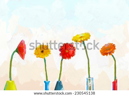 Gerbera flower.Abstract flower oil painting.Still life of vase with a gerbera flower - stock photo