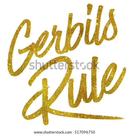 Gerbils Rule Gold Faux Foil Metallic Glitter Quote Isolated
