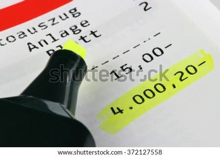 German accounts current showing big minus (translation: statement/ attachment / page) - stock photo