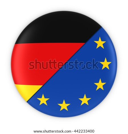 German and European Relations - Badge Flag of Germany and Europe 3D Illustration