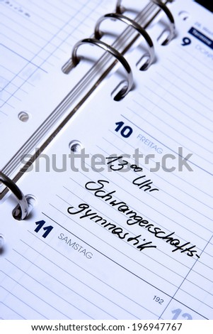 german appointment calendar - exercises for pregnancy