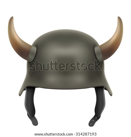 German Army helmet with horns. Illustration isolated on a white background