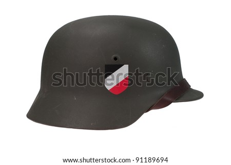German Army helmet World War II period isolated on a white background - stock photo